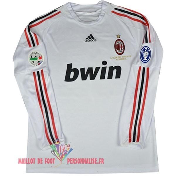 69ff163333473 Maillot Om Pas Cher Adidas Exterieur Manches Longues AC Milan Vintage 2008  2009 Blanc