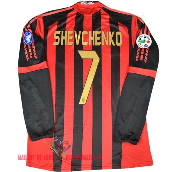 Maillot Om Pas Cher Adidas No.7 Shevchenko DomiChili Manches Longues AC Milan Vintage 2005 2006 Rouge