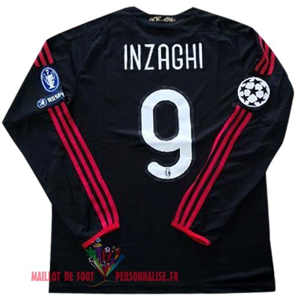 Maillot Om Pas Cher Adidas No.9 Inzaghi Third Manches Longues AC Milan Vintage 2009 2010 Noir