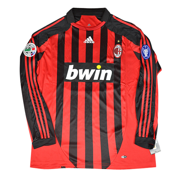 Maillot Om Pas Cher adidas Domicile Maillots Manches Longues AC Milan Rétro 2007-2008 Rouge