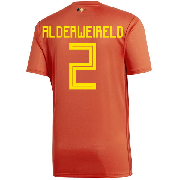 Maillot Om Pas Cher adidas NO.2 Alderweireld Domicile Maillots Belgica 2018 Rouge