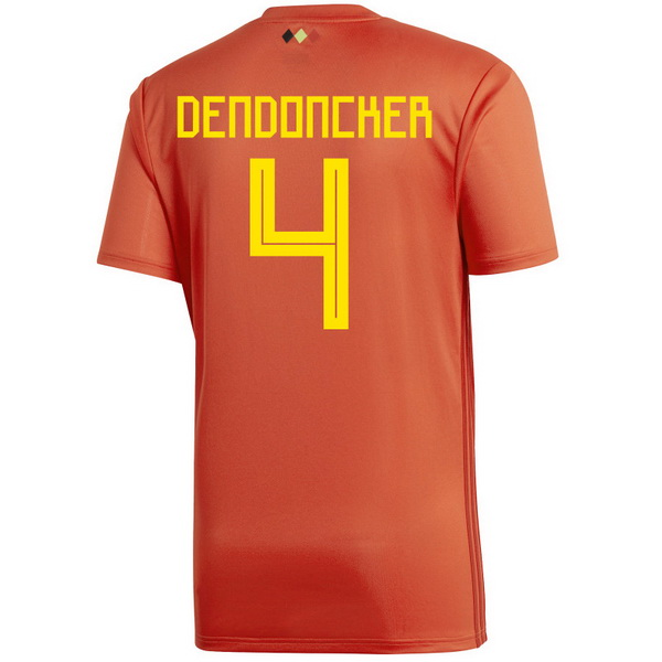 Maillot Om Pas Cher adidas NO.4 Dendoncker Domicile Maillots Belgica 2018 Rouge