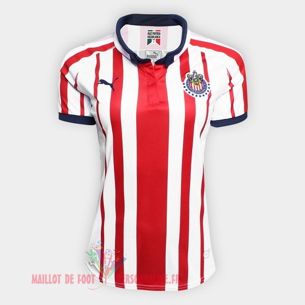 Maillot Om Pas Cher PUMA Domicile Maillots Femme CD Guadalajara 18-19 Rouge Blanc