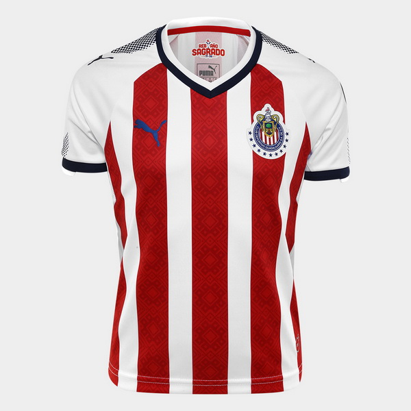 Maillot Om Pas Cher PUMA Domicile Maillots CD Guadalajara 2017 2018 Rouge Blanc