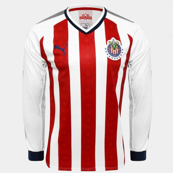 Maillot Om Pas Cher PUMA Domicile Maillots Manches Longues CD Guadalajara 2017 2018 Blanc Rouge
