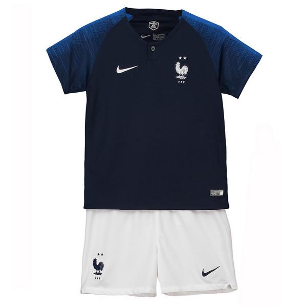 07592de1c9223 Maillot Om Pas Cher Nike Championne du Monde Domicile Ensemble Enfant  France 2018 Bleu