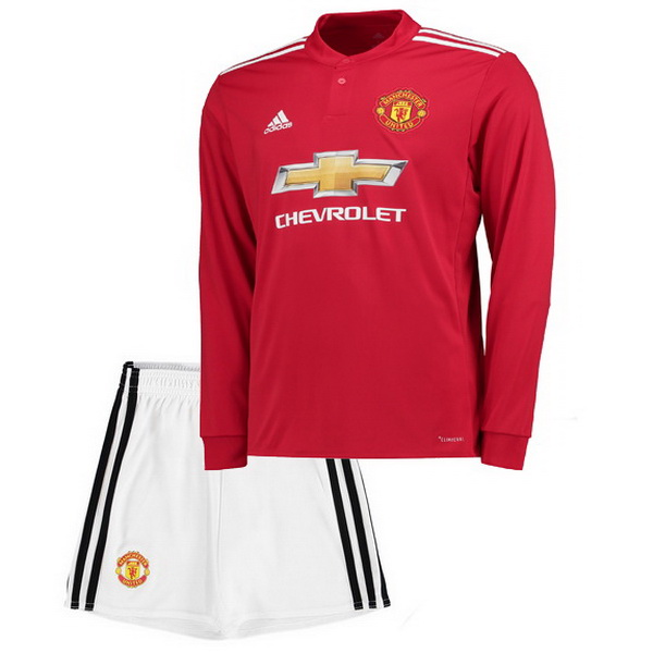 Maillot Om Pas Cher adidas Domicile Maillots Manches Longues Enfant Manchester United 2017 2018 Blanc Rouge