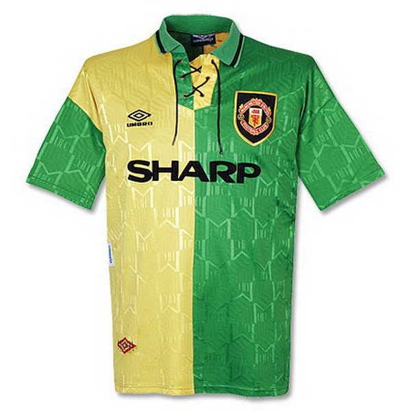 Maillot Om Pas Cher umbro Third Maillots Manchester United Rétro 1992 1993 Vert Jaune