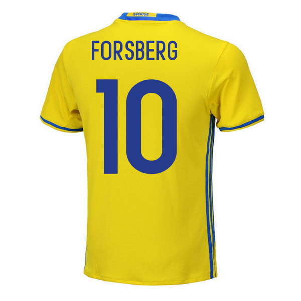 Maillot Om Pas Cher adidas NO.10 Forsberg Domicile Maillots Sweden 2018 Jaune
